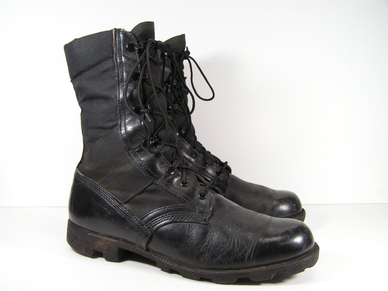 vintage combat boots mens 10 r d black leather work jungle