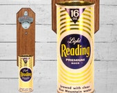 Wall Mounted Bottle Opener with Vintage Reading Light Beer Can Cap Catcher - Groomsmen Gift