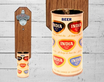Bar Gift India Wall Mounted Bottle Opener with Vintage Puerto Rico Beer Can Cap Catcher