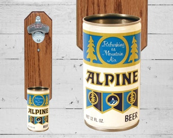 Father's Day Gift Beer Gift for Dad Alpine Lager Biere Wall Mounted Bottle Opener with Vintage Beer Can Cap Catcher - Gift for Groomsmen