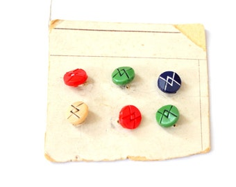 Set of 6 1920s Tiny Art Deco Glass Buttons