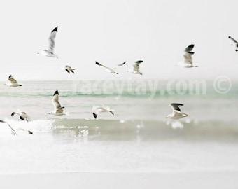 Ocean Photography, Large Wall Art, Mint, White, Gray, Beach Decor, Minimalist, Malibu California Print