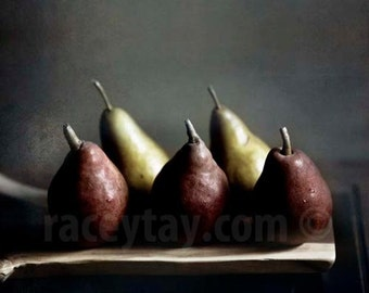 Fall Pears, Rustic Kitchen Decor, Red, Gold, Food Photography, Dark, Painterly,  Autumn Wall Decor