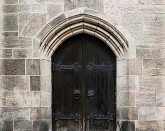 Rustic Brown Door, Paris Photography, Black, Beige Gray, Architecture, Paris Door, Rustic Door, Paris Print