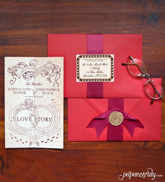 Romance Managed, Full Version - Harry Potter Inspired Invitation - SAMPLE ONLY (Price is not full order per unit price, see description)