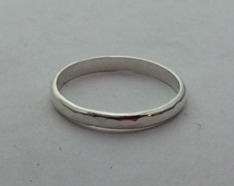 argentium silver handmade stacking ring, half round, 10 gauge, stackable silver ring