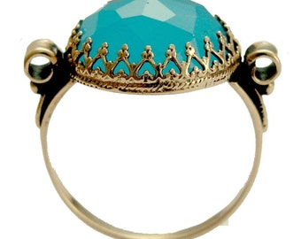 Solid Rose gold engagement ring, blue quartz ring, Gypsy ring, 14k rose gold Ring, boho ring, gemstone ring, filigree ring - Dejavu RG1172