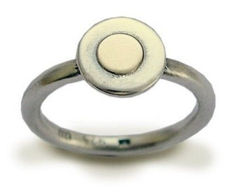 Simple two tones ring, Gold Silver Ring, Circle Ring, tiny round ring, dainty ring, stacking ring, simple ring, delicate - Small talk R1382C