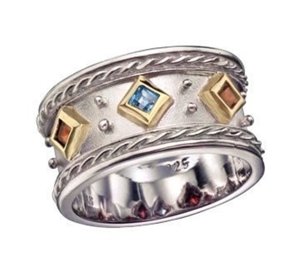Mothers Gemstones Ring, sterling silver and gold ring, two-tone ring, garnet ring, citrine ring, blue topaz ring - Dreaming in colors. R1141