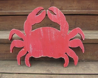 Small Wood Crab. Crab Wall Art. Red Distressed Crab. Nautical Decor. Beach Decor. Home Decor. Crab Sign. Made To Order