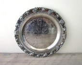 Vintage Silver Plate Serving Tray Grape Leaf Pattern Old English Reproduction