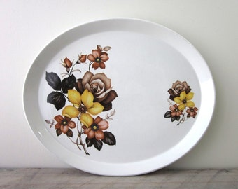 Vintage Oval Ironstone Platter with Yellow and Brown Roses Royal Tudor Ware Rose Queen by Barker Bros