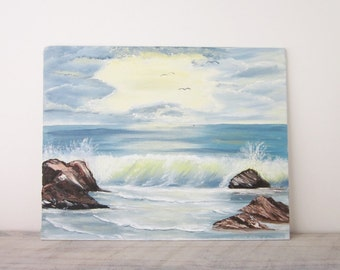 Vintage Oil Painting Beach Waves Crashing on the Rocks