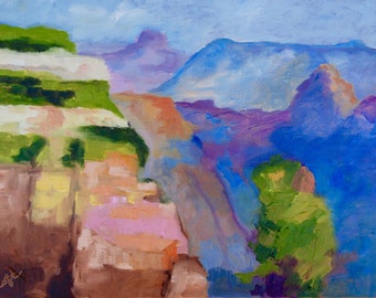 Grand Canyon Arizona Modern Impressionist Original Oil Landscape Painting by Rebecca Croft