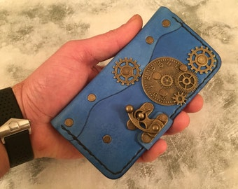 Handmade leather iPhone 6 case - steampunk iPhone 6 cover - leather iPhone 6 case - blue iPhone cover - gears iPhone case   - iPhone cover