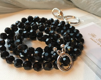Black Crystal Shimmer Pearl ID Badge Lanyard for dressy businesswoman