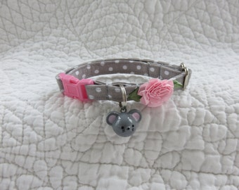 Grey   Cat Collar with bell  Cat  Breakaway Collar Custom Made