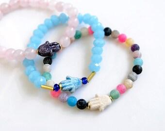 Hamsa Bracelet, Gemstone Bracelet, Talisman Good Luck Bracelet, Beaded Boho Bracelet, Agate Bracelet