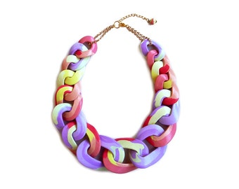 Cotton Candy Statement Necklace, Chunky Chain Necklace, Multicolor Necklace