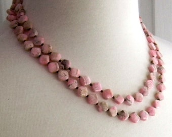 Pink Gemstone Necklace Rhodonite Necklace Two Strands Double strand Pastel Colors Spring Fashion Jewelry