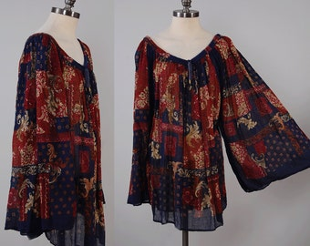 Vintage Indian gauze cotton BELL SLEEVE tunic top / Drawstring neck line / Block print bohemian blouse