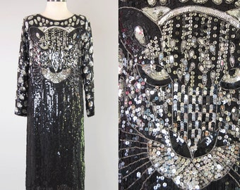 Vintage 80s silk sequined TIGER dress / Entirely covered in sequins / Disco glam trophy