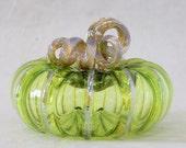 Hand Blown Glass Art Sculpture LIME Pumpkin Oneil 6326