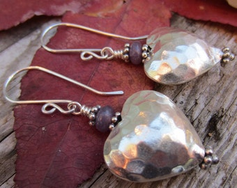 Hammered Bali Silver Hearts and Lavender Lepidolite Dangle Earrings
