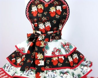 Kittens in Mittens, Polar Bears, and Candy Canes Christmas Apron in stock ready to ship