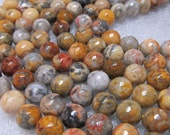 "Jasper Beads 10mm Faceted Round Natural Picture Jasper Earth Toned Rounds - 8"" Strand"
