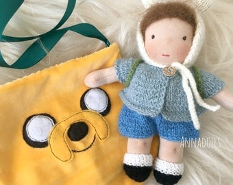 Waldorf doll. Boy 7 inch. Pocket doll. Doll in bag. Adventure time (style). Finn and Jake (style).