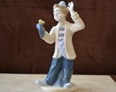 Clown Magician Figurine--Vintage Paul Sebastian Porcelain Clown Desako Inc. --Collectible Blue White PS Clown 1993