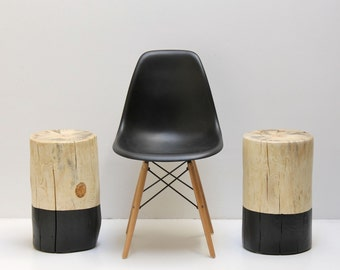 Black Paint Dipped Tree Stump Coffee Table Stool Seat