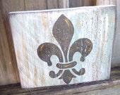 Fleur de lis sign - Wood fence sign - shelf sitter