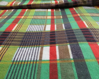 6 yards Vintage Cotton Flannel Flannelette Fabric - Plaid Green Red Yellow Black