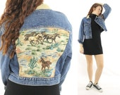 Vintage 90s GUESS Jean Jacket Horse Needlepoint Blue Tan Suede Cropped 1990s Southwestern Medium M