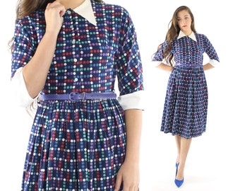 Vintage 50s Day Dress Atomic Polka Dot Full Skirt Collared 1950s Small XS S Blue Purple Rockabilly Pinup
