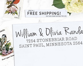 Custom Address Stamp, Return Address Stamp, Boho Wedding address stamp, Calligraphy Address Stamp, Self inking or Eco Mount stamp - Olivia