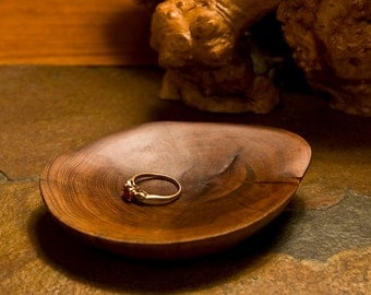 Pacific Yew Wood Bowl Ring Dish Wood Art Sculpture 5th Wedding Anniversary Gift Handcrafted in Oregon Love Home Decor