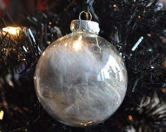 Real Wolf Fur Totem Glass Christmas Tree Ornament