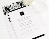 Modern Glamour Wedding Invitations - Floral - Elegant - Borders - Black and White Wedding Invitations - Monogram Wedding Invites - Deposit
