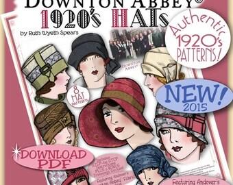 DOWNTON Abbey 1920 HAT Pattern Pdf Booklet Andover Pdf 2014-15 Ed. - Vintage 1920's Flapper Cloche Turban Brim Sew Make