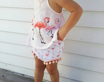 Flamingo Baby Girl Bloomers - Toddler Girl Bloomers - Pom Pom Shorts - Pom Pom Bloomers - Birthday Outfit - Easter Outfit - Flamingo Bloomer