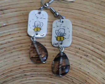 Scrimshaw Earring Set Bumblebee Panel and Glass Bead OOAK Great Gift Idea
