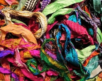 Gorgeous Persian Bazaar Recycled Sari Silk Ribbon 5 - 10 Yards or Full Skein Thin & Wide Ribbon BOHO Jewelry Making
