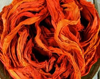 Burnt Orange Recycled Sari Silk Phat 'n Thin Ribbon 5 - 60 Yards for Yarn Jewelry Weaving Spinning Boho & Mixed Media