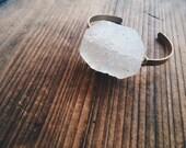 Drusy Quartz Gemstone Bangle Bracelet Handmade by Rana Salame in Indiana Healing Crystal Bracelet One Bracelet Unique quartz Cuff Jewelry