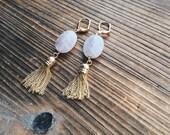 Rose Quartz and Tassel Gold Plated Brass Earrings Crystal Jewelry Quartz Jewelry Crystal One of A Kind Quartz Healing Jewelry Pantone
