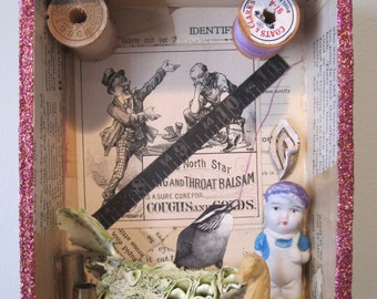 Mixed media assemblage, found object art, 3D collage