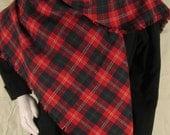 NEW Handmade Plaid Wool Shawl Red Green Tartan Wrap